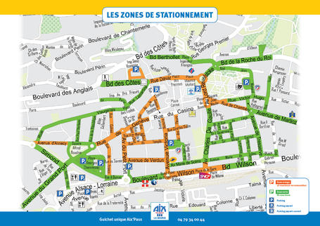 Carte des rues en zone verte et zone orange